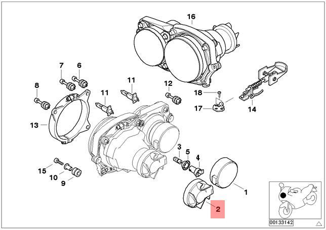 Genuine BMW R21 R21A Lamp Cover Low Beam OEM 63122306965