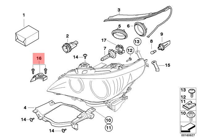 BMW 5 SERIES E60 E61 Reparatursatz Obere Scheinwerfer