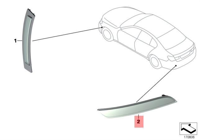 Genuine M Sport Rear Bumper Lower LEFT Reflector BMW 7 F01