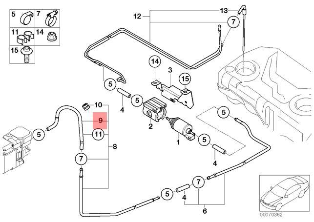 Genuine BMW E53 SUV Fuel Injection System Hose OEM