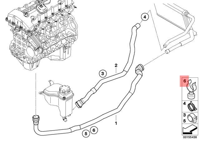 Genuine BMW E82 E88 E89 E90 E90N Radiator Cooling Hose