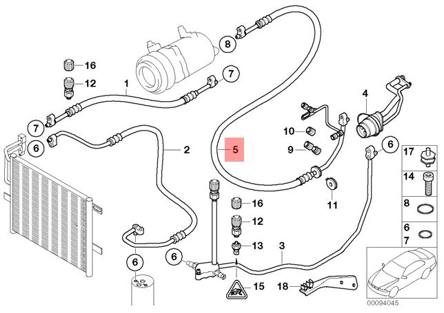 Genuine BMW E46 Compact Evaporator Compressor Suction Pipe