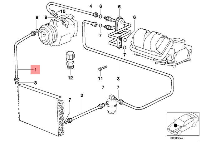 Genuine BMW E32 E34 Sedan Refrigerant Discharge Hose Line