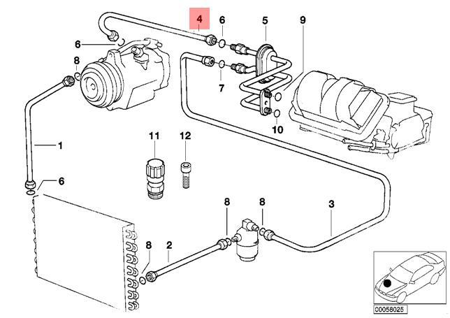 Genuine BMW E36 Cabrio Evaporator Compressor Suction Pipe