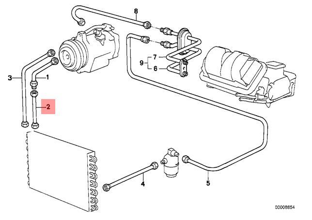 Genuine BMW E28 Sedan Refrigerant Discharge Hose Line OEM
