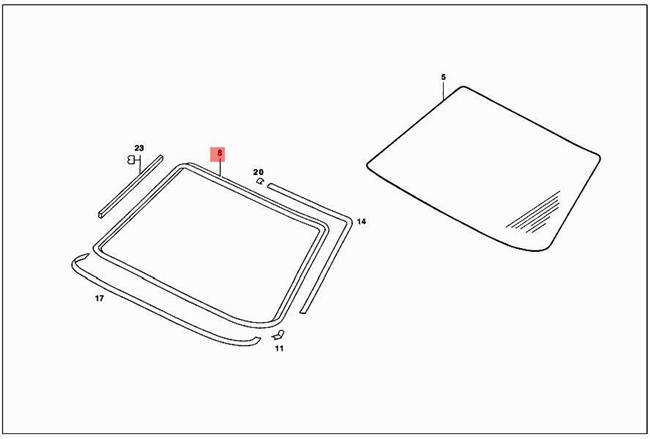 Genuine Mercedes C123 W123 Coupe Sealing frame 1236700339