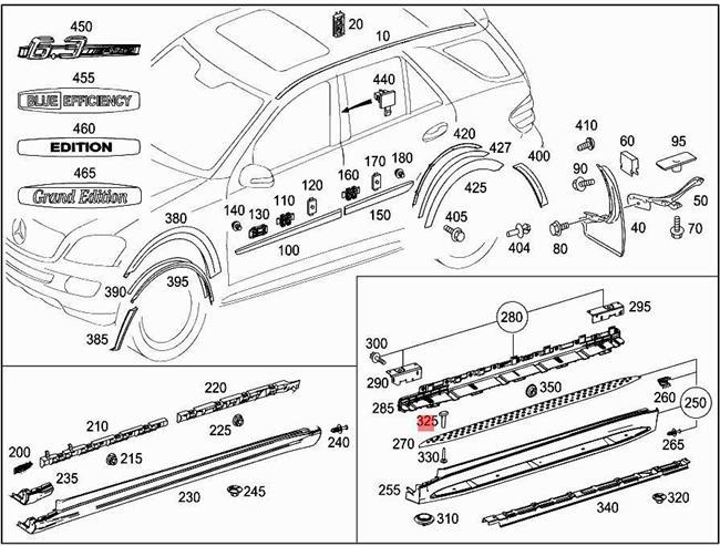Genuine Exterior Step Pad Plug MERCEDES W164 X164 SUV
