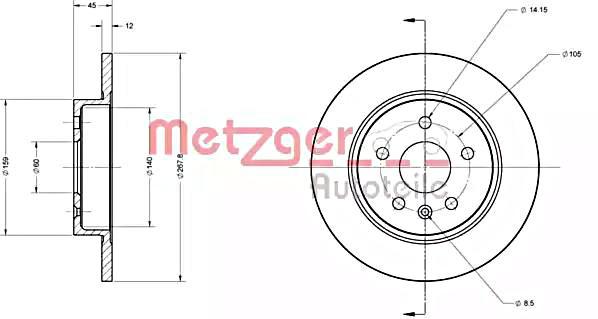 METZGER Brake Disc For OPEL CHEVROLET Astra J GTC Saloon