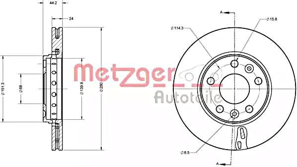 METZGER Brake Disc For RENAULT DACIA Fluence Grand Scenic