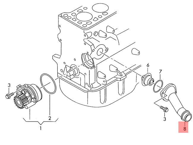 pipe union VW AUDI Beetle Convertible Golf R32 GTI Rabbit