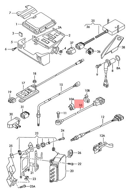 Genuine Knock Sensor With Wiring Harness Brown VW AUDI Eos