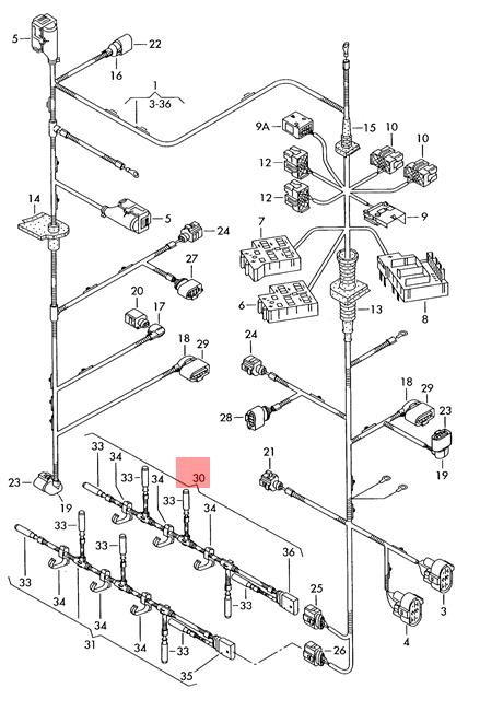 Genuine VW Touareg Wiring Harness For Glow Plug Connector