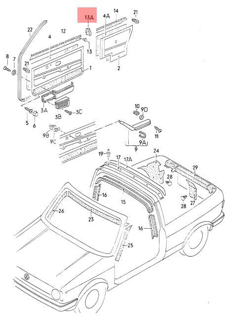 Genuine VW Golf Cabriolet cover for door inner panel