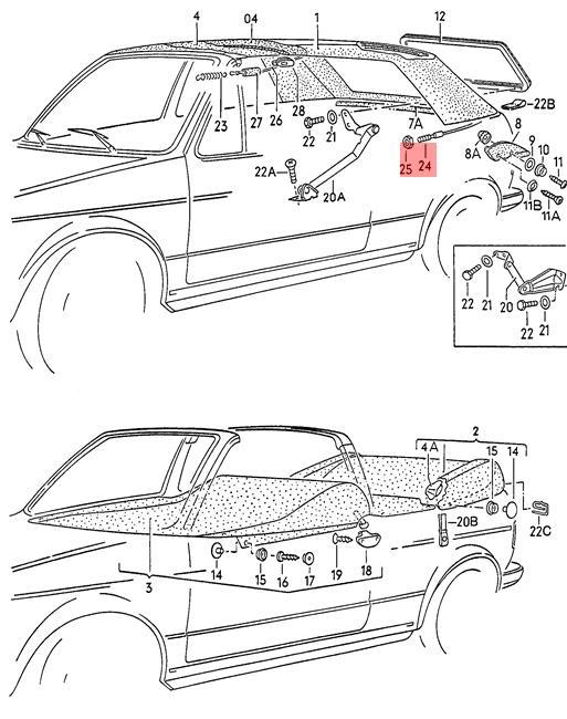 Genuine VW Golf Cabriolet Rabbit Cabrio tension wire rear