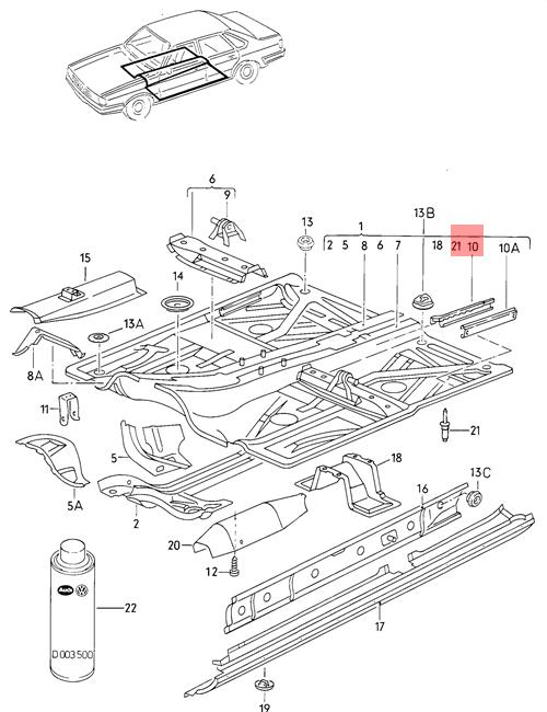 Genuine Guide Rail Right Inner VW AUDI SEAT 50 Caddy