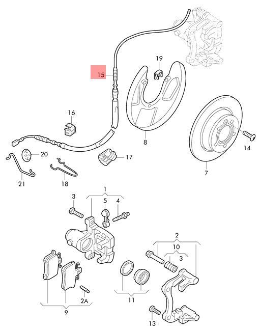 Genuine Brake cable VW Beetle Convertible Golf R32 GTI