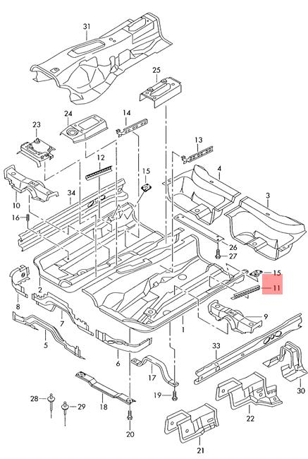 Genuine Guide Rail Left Outer VW AUDI SEAT SKODA Beetle