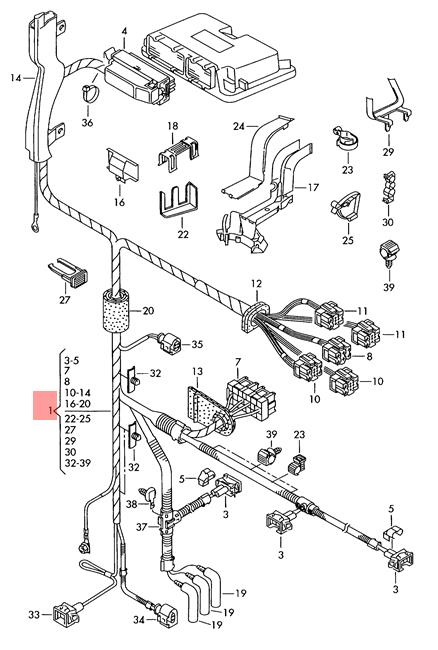 Genuine VW SEAT harness for engine compartment lhd