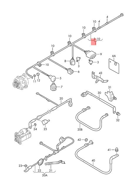 Genuine VW AUDI Golf R32 wiring set for three-phase