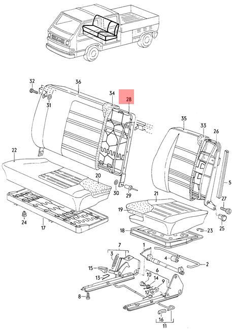 Genuine Volkswagen Backrest Frame NOS Vanagon syncro 24 25