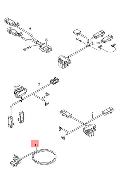 Genuine VW Passat 4Motion Adapter Wiring Harness For Side