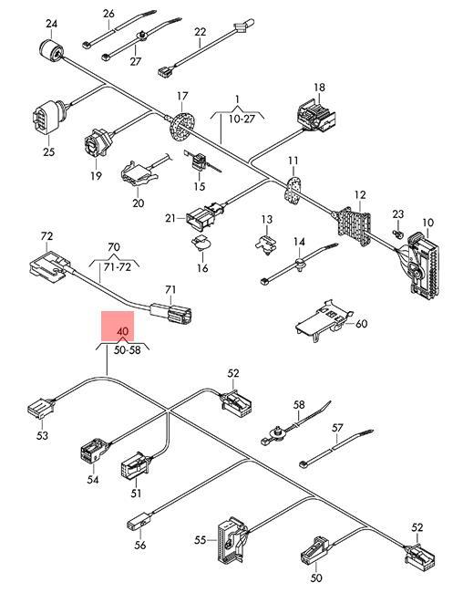 Genuine VW Cc Wiring Harness For Door Trim Panel