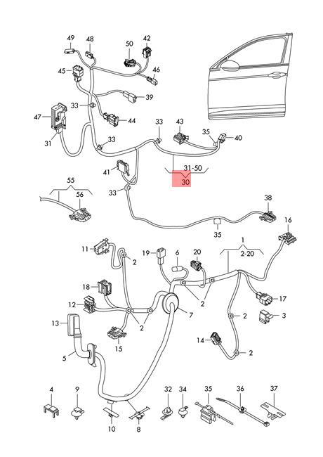 Genuine VW Passat 4Motion Wiring Harness For Door Trim