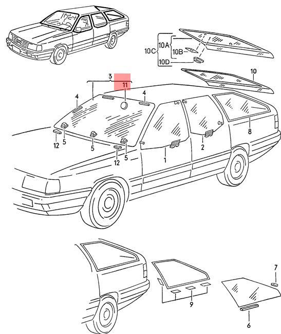 Genuine Retaining Plate For Interior Mirror AUDI VW 100