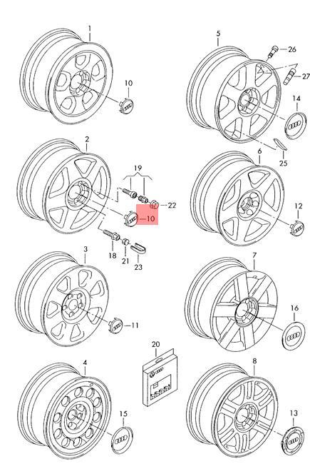 Genuine Wheel Center Hub Cap Avus Silver For AUDI A6 C5