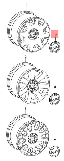 Genuine Wheel Center Hub Cap Avus Silver For AUDI A6 C5 A8