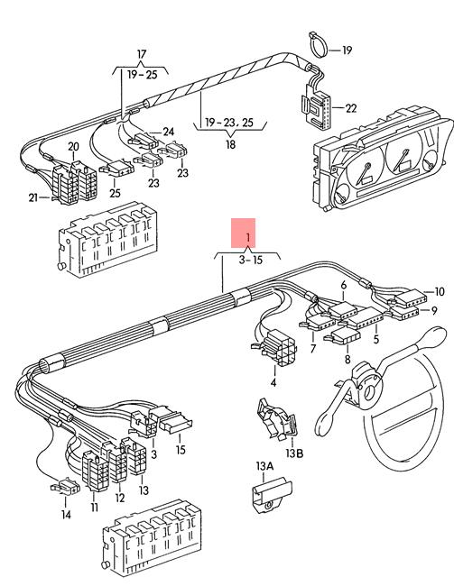 Genuine VW wiring harness for steering column combination