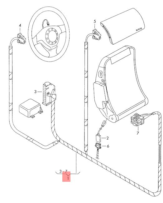 Genuine SEAT VW Arosa Lupo 3L Tdi air bag wiring harness