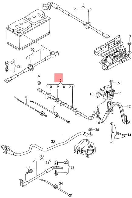 Genuine VW AUDI Touareg Q7 Wiring Harness For Battery