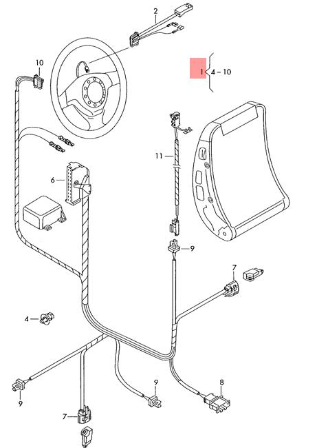 Genuine VW SEAT Sharan Syncro 4Motion airbag wiring