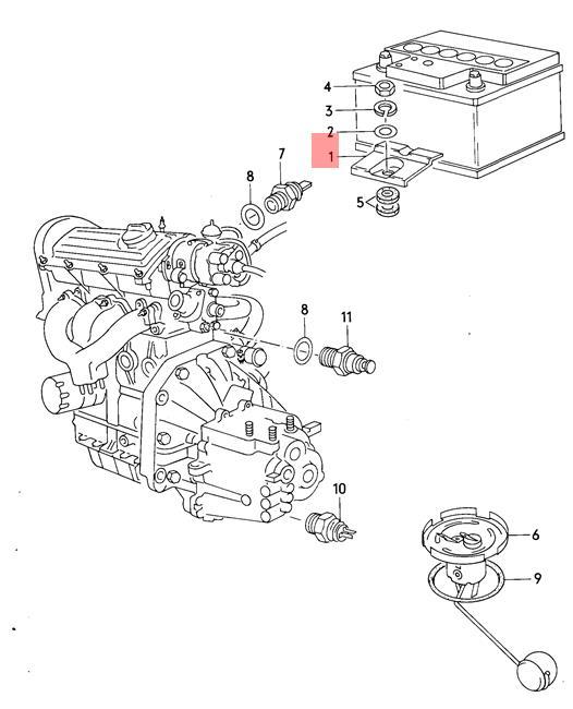 Genuine Volkswagen Clamping Strip For Battery NOS AUDI VW