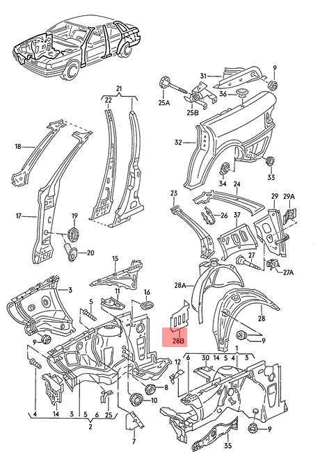 Genuine Extension For Web Plate Right AUDI 80 90 Avant
