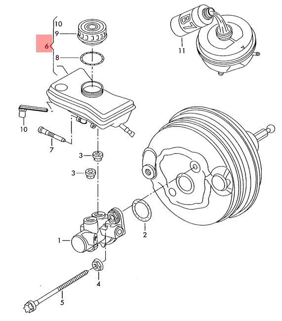 Genuine Reservoir for brake fluid VW Audi A4 Avant S4