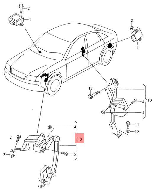 Genuine Level Sensor Front AUDI A4 S4 Cabrio quattro RS4