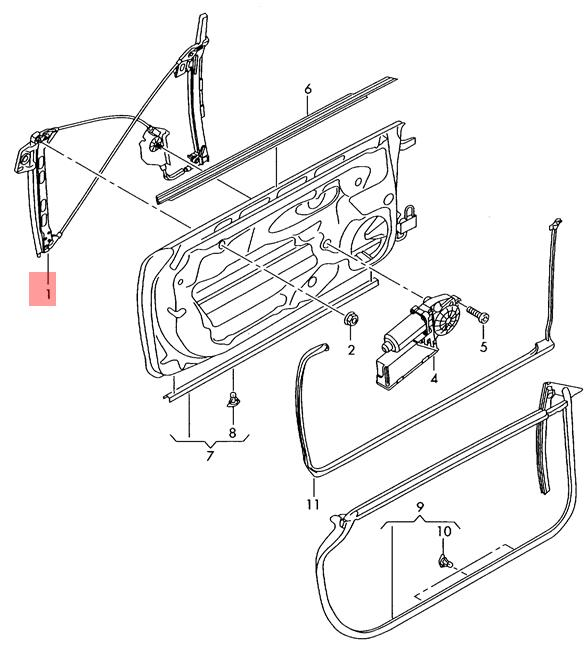 Genuine Window regulator without motor right AUDI