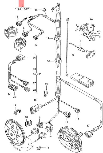 Genuine AUDI A3 Wiring Harness Section For Lighting