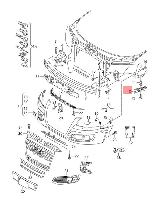 Genuine Guide section right AUDI Audi A3 S3 Sportback Lim