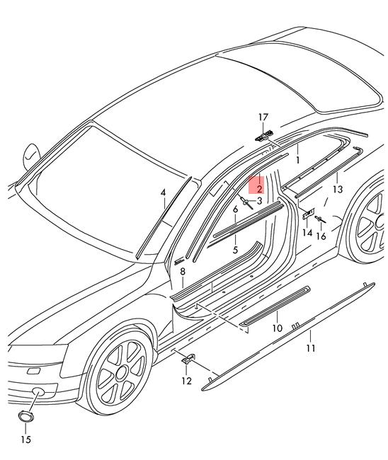Genuine Roof Frame Seal AUDI A5 S5 Coupe Sportback Rs5