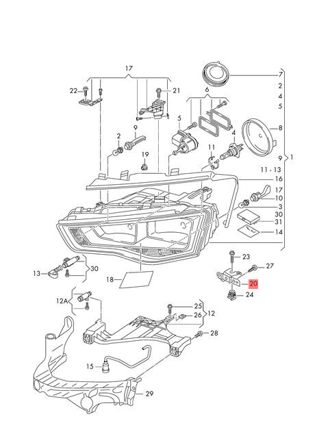 Genuine Headlight Lamp Retainer Plate Left Audi A4 A5