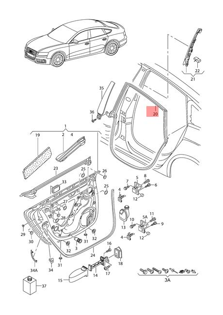 Genuine Door Seal Inner Right AUDI A5 S5 Coupe Sportback