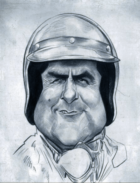 brabham - jack brabham caricature - Triple F1 world champion, canny engineer and car developer . . . and pants' man