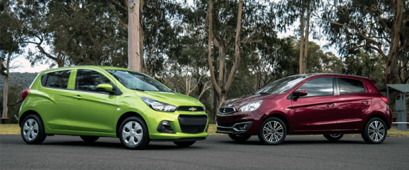 US-sales-minicar-segment-2016-Chevrolet_Spark-Mitsubishi_Mirage