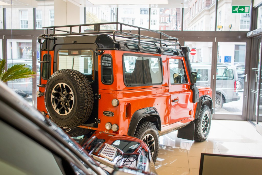 Orange Land Rover Defender