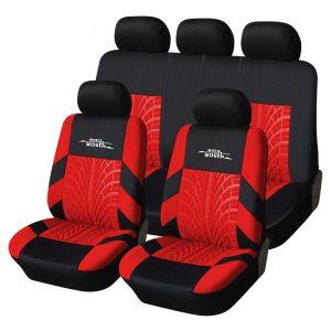 9 Psc Universal Tire Pattern Full Car Seat Covers Set