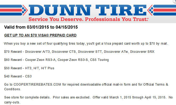 Walmart Oil Change Prices >> Dunn Tire $70 Cooper Tires rebate March 2015