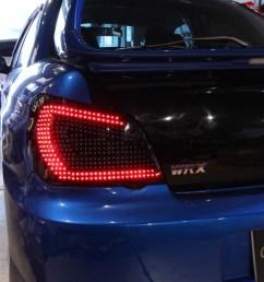 car shop glow subaru impreza gda gdb custom led tail lights ver 1 smoked flowing turn signal  [ 1280 x 853 Pixel ]